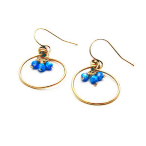 Kyocera Opal And Gold Fill Hoop Earrings