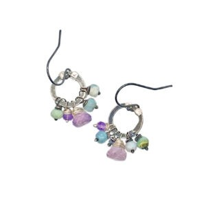 Amethyst, Iolite And Opal Sterling Silver Earrings