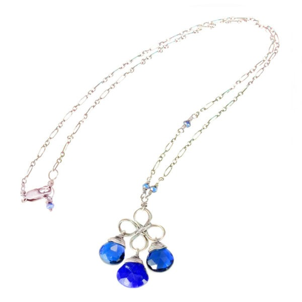 Blue Quartz, Sapphire And Sterling Silver Necklace