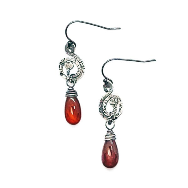 Burnt Orange Chalcedony and Sterling Silver Earrings
