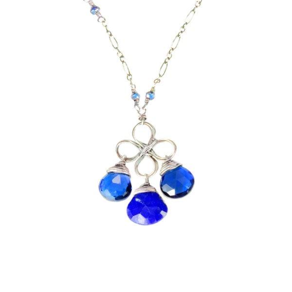 Closeup Blue Quartz, Sapphire And Sterling Silver Necklace