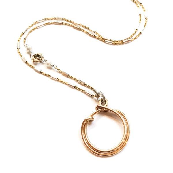 Closeup Mixed Metal Circle Necklace