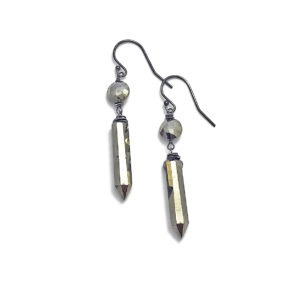 Closeup Pyrite Point And Sterling Silver Earrings