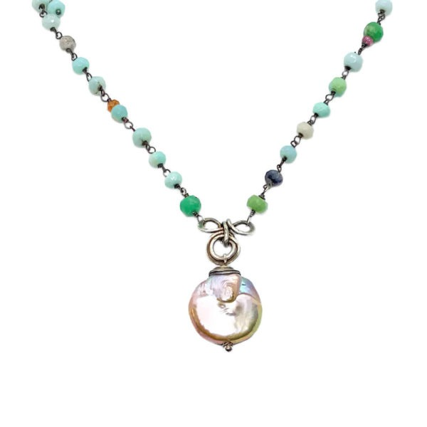 Coin Pearl And Peruvian Opal Sterling Silver Necklace Closeup