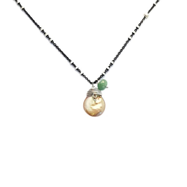 Coin Pearl Green Sapphire And Sterling Silver Necklace Closeup