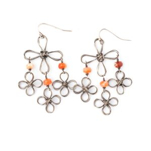 Fire Opal And Sterling Silver Chandelier Earrings