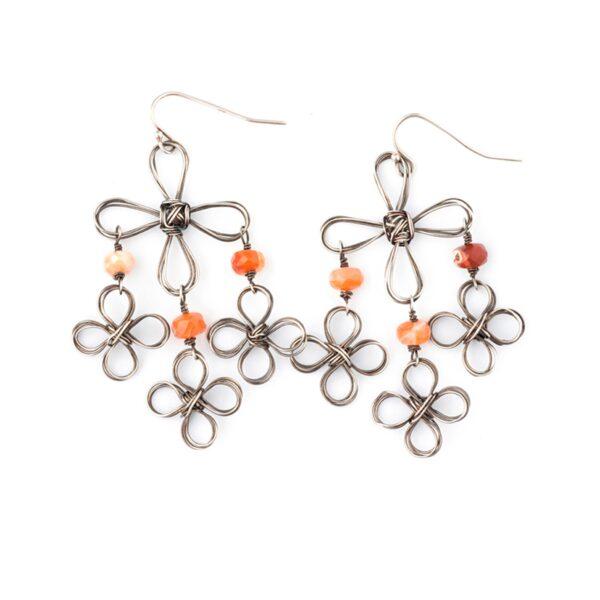 Fire Opal And Sterling Silver Chandelier Earrings