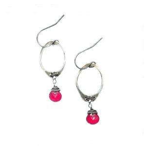 Fuchsia Quartz And Sterling Silver Elongated Hoop Earrings