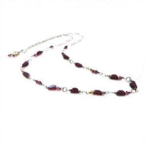 Garnet, Tourmaline And Sterling Silver Necklace