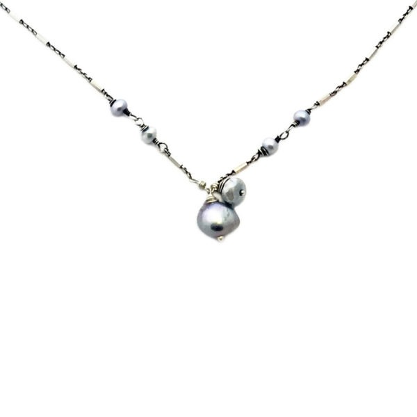 Gray Pearl And Sterling Silver Necklace Closeup