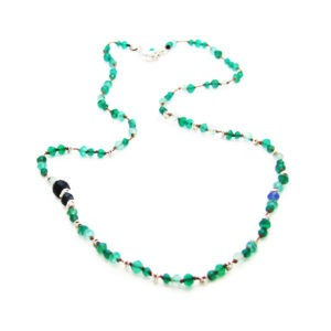 Green Onyx And Sapphire Hand Knotted Necklace