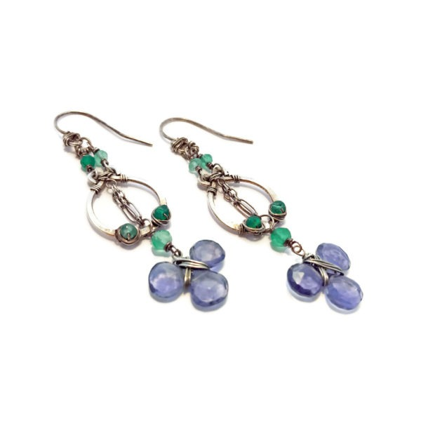 Iolite and Sterling Silver Dangle Earrings