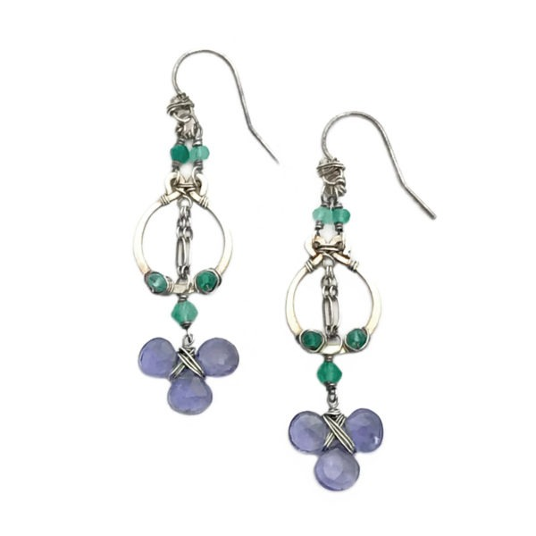 Iolite and Sterling Silver Dangle Earrings Closeup