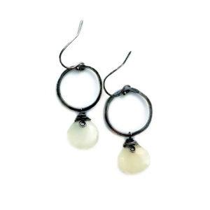 Moonstone And Sterling Silver Hoop Earrings