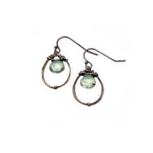 Moss Aquamarine And Sterling Silver Hoop Earrings