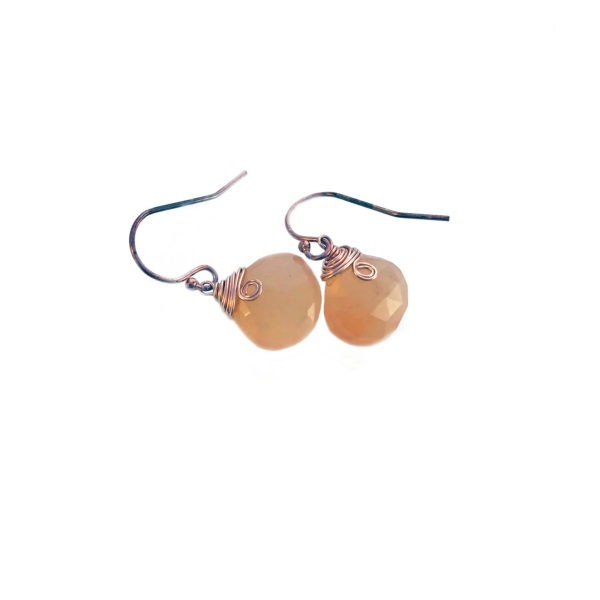 Orange Moonstone And Rose Gold Fill Earrings
