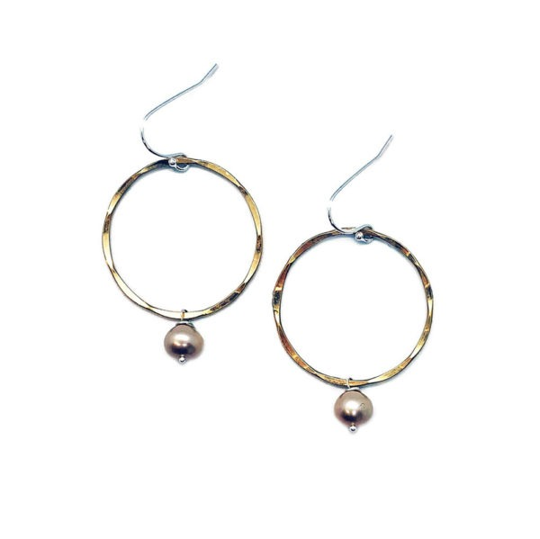 Pearl And Gold Fill Hoop Earrings