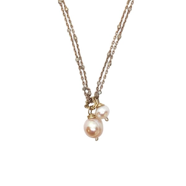 Pearl And Rose Gold Fill Necklace Closeup