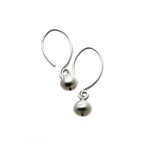 Pearl And Sterling Silver Elongated Drop Earrings
