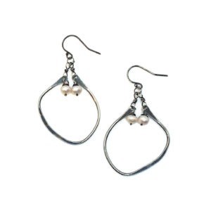 Pearl And Sterling Silver Hoop Earrings