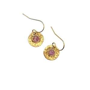 Pink Spinel And Gold Fill Disc Earrings
