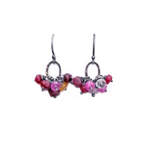 Pink Spinel And Sterling Silver Cluster Earrings