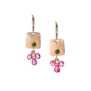 Pink Tourmaline And Gold Fill Earrings
