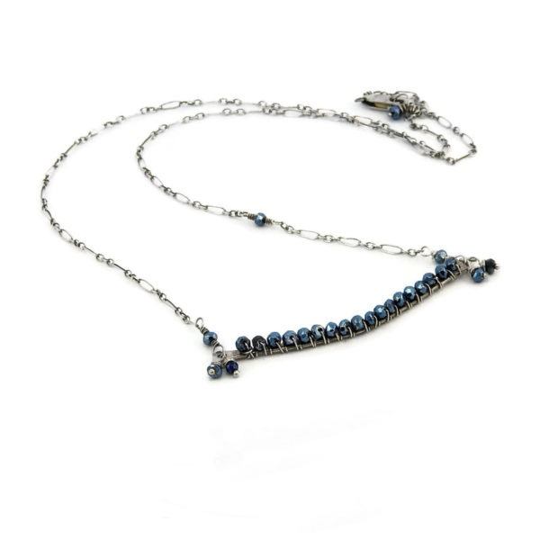 Pyrite And Sterling Silver Bar Necklace
