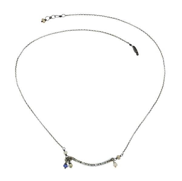 Sapphire And Sterling Silver Curved Bar Necklace