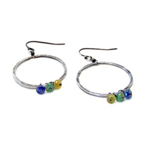 Sapphire, Emerald And Sterling Silver Hoop Earrings