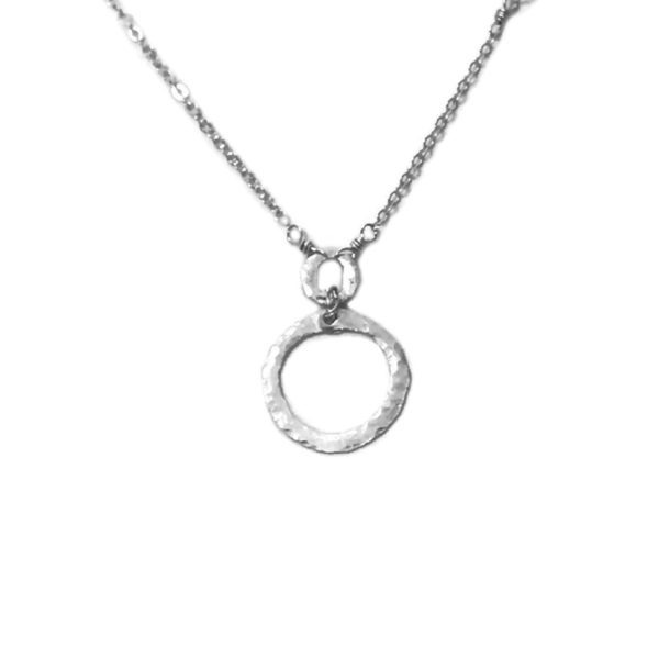Sterling Silver Circle Necklace Closeup