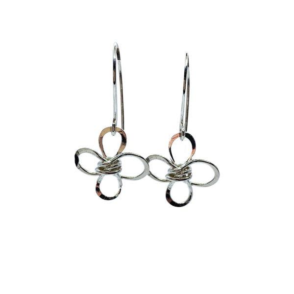 Sterling Silver Four Petal Flower Earrings