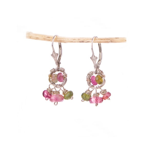 Tourmaline And Sterling Silver Halo Earrings