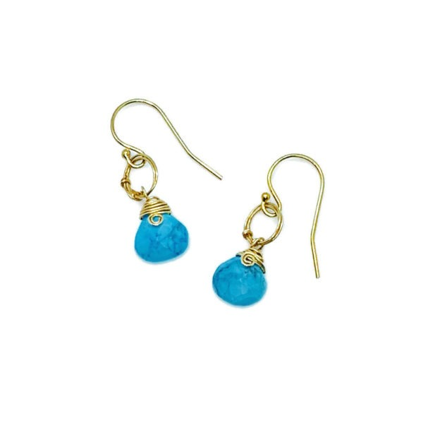 Turquoise And Gold Fill Petite Hoop Earrings