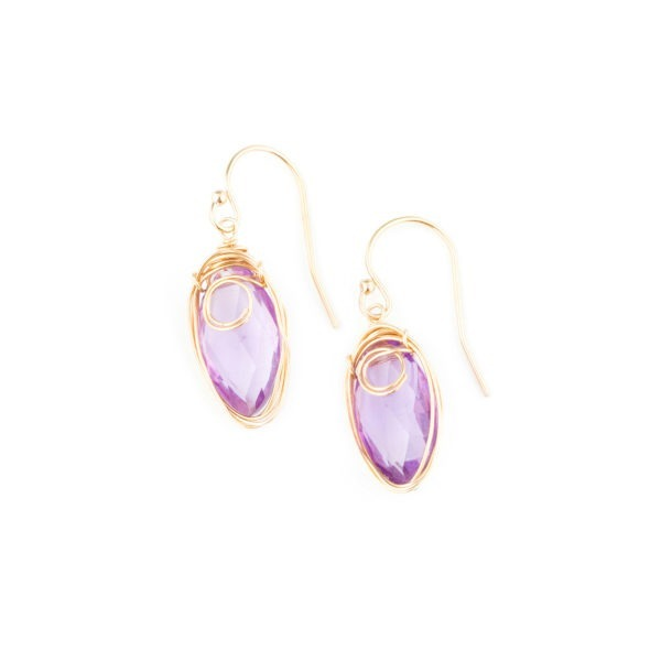 Amethyst And Gold Fill Earrings
