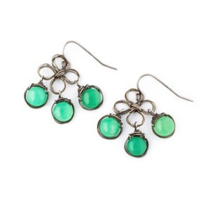 Chrysoprase And Sterling Silver Flower Earrings