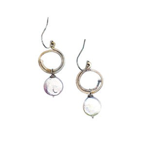 Coin Pearl And Sterling Silver Spiral Earrings