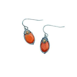 Jasper Tourmaline And Sterling Silver Nested Earrings
