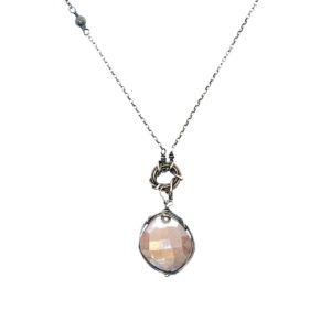 Moonstone And Sterling Silver Long Necklace Closeup