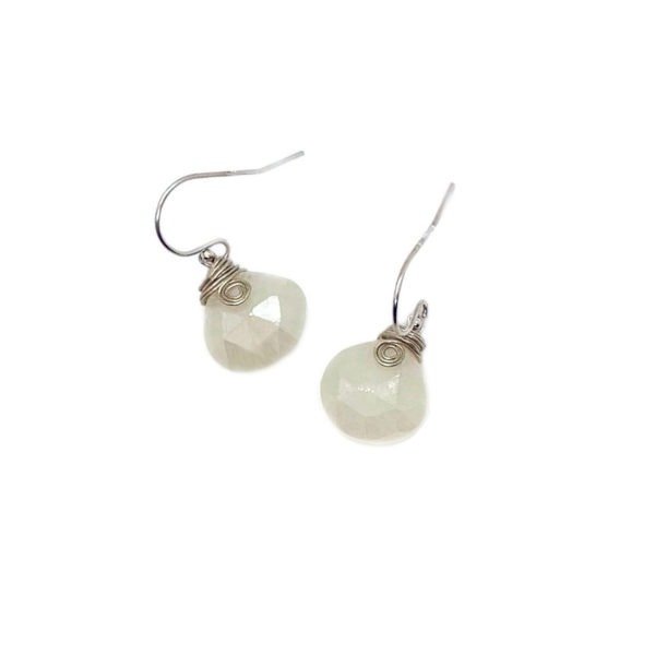 White Chalcedony And Sterling Silver Earrings