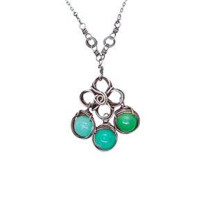 Chrysoprase And Sterling Silver Necklace Closeup