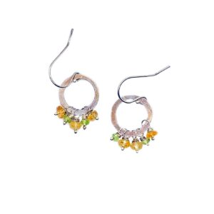 Citrine And Sterling Silver Hoop Earrings