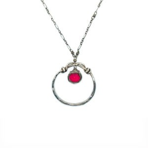 Fuchsia Quartz And Sterling Silver Necklace Closeup