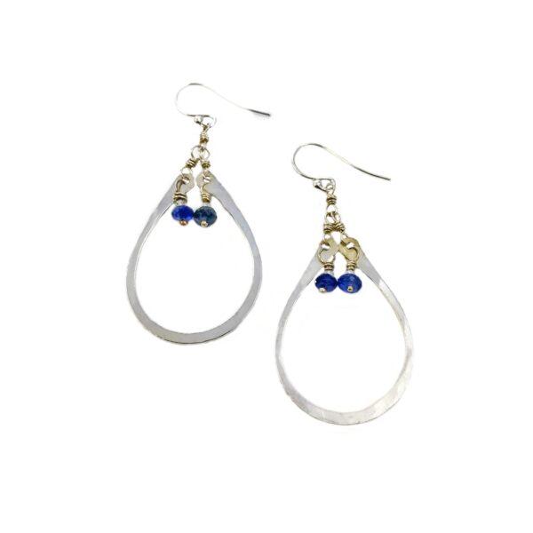 Iolite And Sterling Silver Elongated Hoop Earrings
