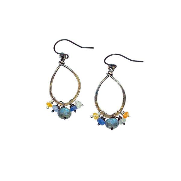 Labradorite And Sterling Silver Elongated Hoop Earrings