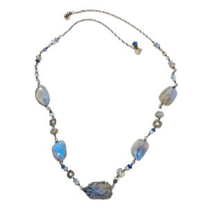 Labradorite, Sapphire And Sterling Silver Necklace