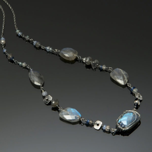 Labradorite, Sapphire And Sterling Silver Necklace Closeup