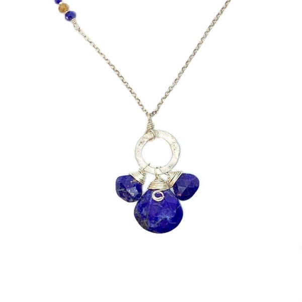 Lapis Lazuli Trio And Sterling Silver Necklace Closeup