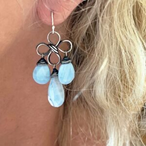 Peruvian Opal And Sterling Silver Chandelier Earrings