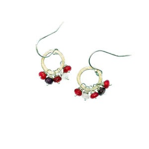 Red Jade And Sterling Silver Hoop Earrings